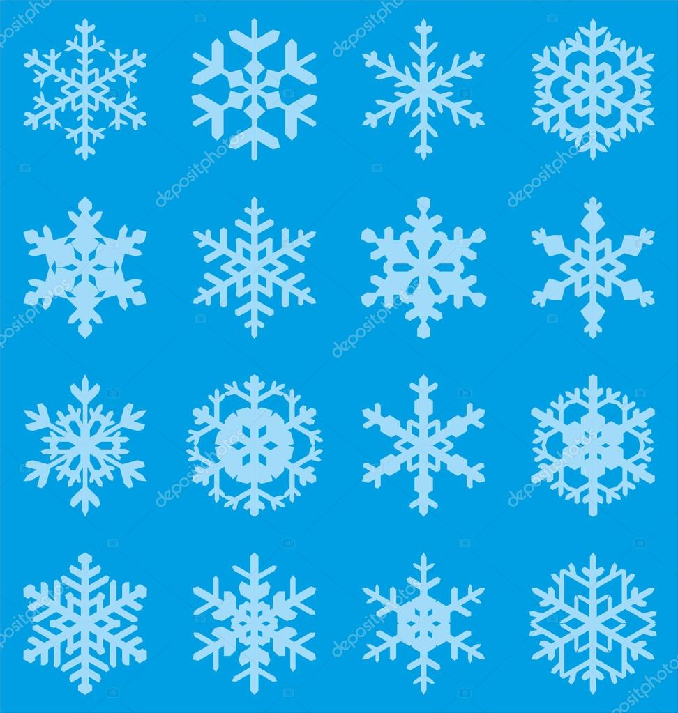 Set of 16 vector snowflakes  Stock vektor #13769501