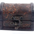 Vintage wooden treasure chest isolated over white background — Stock Photo
