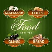 Food. Vector. Mushrooms, cheese, olives, bread — Stock Vector