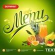Vector fruit and juice. Picture menu for summer cafe — Stock Vector