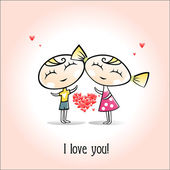 Valentines card. Happy Boy and girl hold red heart — Stock Vector
