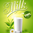 Glass of milk and a package on a natural green background — Stock Vector #41569461