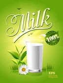 Glass of milk and a package on a natural green background — Stock Vector