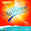 Summer background. Tropical sea and sky with white boat. — Stock Vector #41573395