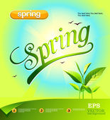 Vector spring green background — Stock Vector