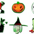 Set of Halloween vector icons — Stock Vector