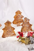 Close up of decorative Christmas ornaments on the snow. With Chr — Stock Photo