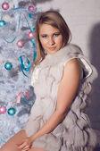 Blonde girl celebrating Christmas — Stock Photo