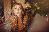 Blondy girl celebrating Christmas — Stock Photo