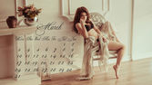 Calendar March 2014 with beautiful girl — Stock Photo