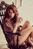 Morning coffee with beautiful woman — Stock Photo