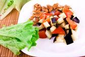 Sliced eggplant and tomato — Stockfoto