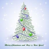 White christmas tree — Stock Vector