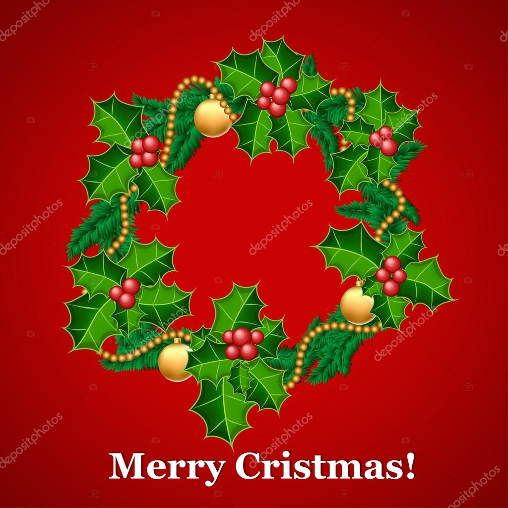 Christmas wreath with holly and decorations — Stock Vector #18119895