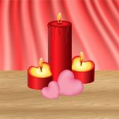 Valentine candles — Stock Vector