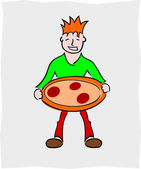 Man with pizza — Stock Vector