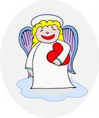 Angel holding heart — Stock Vector