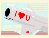 Love jet fighter — Stock Vector