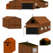 Stock Vector: Farm buildings set.