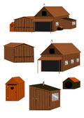 Farm buildings set. — Stock Vector