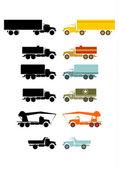 Retro truck set. — Stock Vector