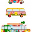 Stock Vector: Retro hippie cars.