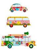 Retro hippie cars. — Stock Vector