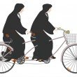 Stock Vector: Two nuns riding tandem.