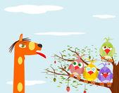 Parrot and giraffe — Stock Vector