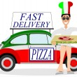 Stock Vector: Pizzdelivering