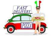 Pizza delivering — Stock Vector