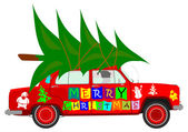 Car with christmas tree — Stockvector