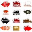 Barbecue stamp set — Stock Vector