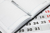 Calendar and Diary with Pen — Stock Photo