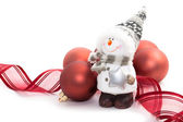 Snowman and Christmas balls — Stock Photo