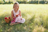 Child with apple — Stock Photo