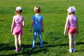 Three girls before the start — Stock Photo