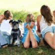Girl lying on the grass with a dog — Stockfoto #40610717