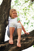 Cute girl climbed on tree — Stock Photo
