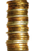 Column gold silver coins closeup — Stock Photo
