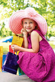 Girl with shopping — Foto Stock
