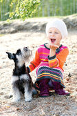 Girl with dog — Stockfoto