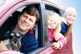 Family with a dog in the car — Stock Photo