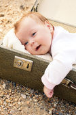 The baby in a suitcase — Stock Photo