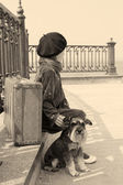 Retro photo of a little girl and his dog — Stock Photo