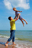 Healthy father and daughter playing together  — Stock Photo