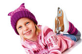 Girl is skating  in a funny hat — Stock Photo