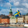 Stock Photo: Swedish flag with old town in background