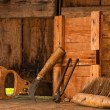 Vintage tools in a shed — Stock Photo