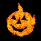 Cadılar bayramı kafasına ateş ve alevler üzerinde siyah izole — Stok fotoğraf